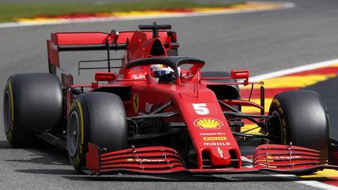 Sebastian Vettel fuhr in seinem Ferrari in Spa nur hinterher.