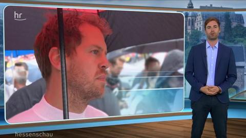 hr-Sport-Reporter Oliver Mayer kündigt den Formel-1-Beitrag in der hessenschau an.