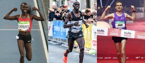 Cheruiyot, Korir und Gabius beim Laufen