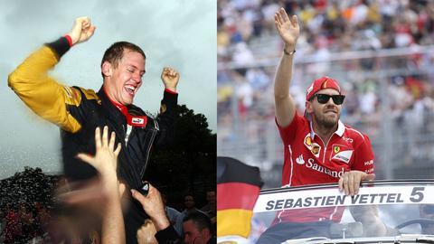 Sebastian Vettel beim Großen Preis von China 2007 (links) und beim Großen Preis von Kanada 2017 (rechts)