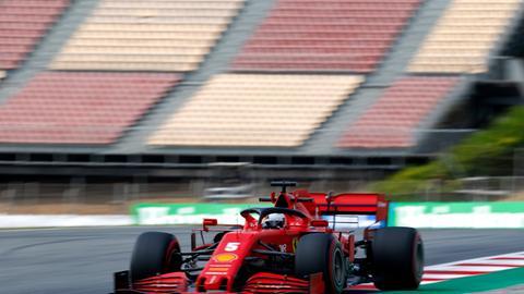 Sebastian Vettel enttäuschte auch beim Training in Barcelona.