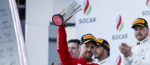 Ferrari-Pilot Sebastian Vettel hat den Titel noch im Blick.