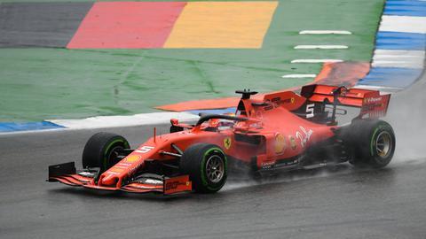 Sebastian Vettel im Regen von Hockenheim