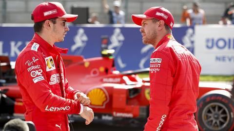 Sebastian Vettel und Charles Leclerc von Ferrari