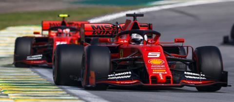 Sebastian Vettel und Charles Leclerc im Ferrari