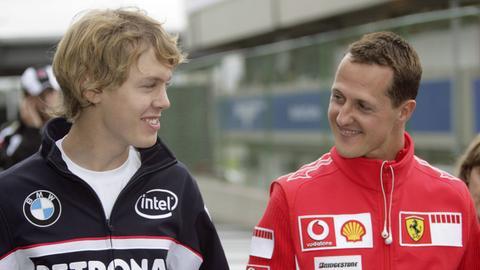 Sebastian Vettel und Michael Schumacher im Jahr 2006