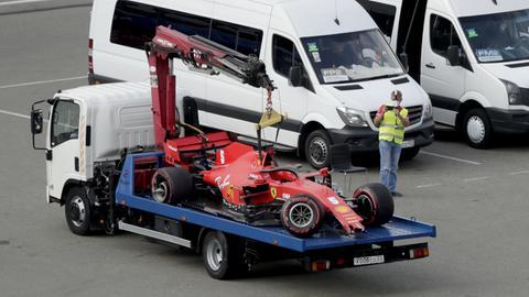 Sebastian Vettels Wagen nach dem Unfall in Sotschi