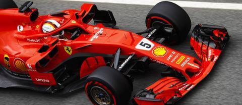 Sebastian Vettel bei den Testfahrten in Barcelona
