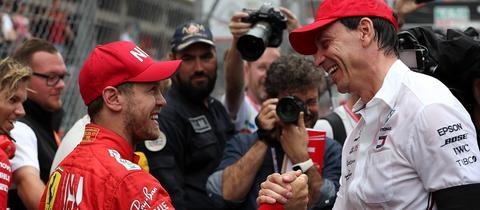 Sebastian Vettel und Toto Wolff nach dem Grand Prix von Monaco 2019