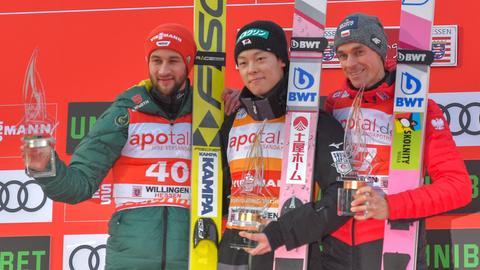 Markus Eisenbickler, Ryoyu Kobayashi und Piotr Zyla.