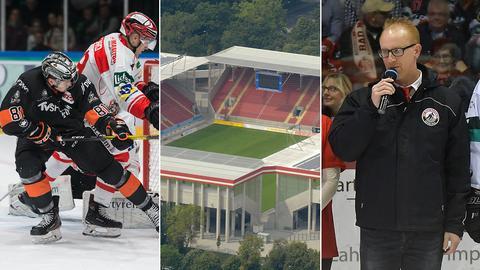 Collage: Eishockey-Spieler, Stadion in Offenbach und Ortwein