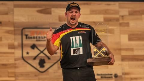 Deutscher Sportholzfäller-Meister Danny Mahr