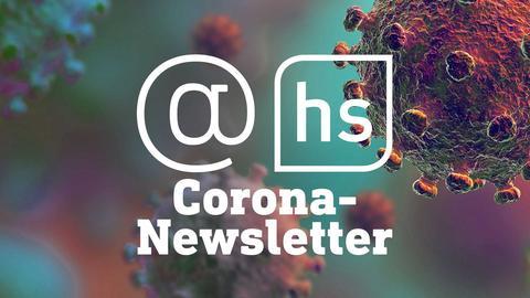 """Stilisiertes Bild eines Corona-Virus mit der Beschriftung """"Corona-Newsletter"""""""