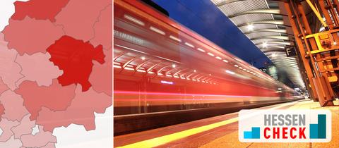 Hessencheck Versorgung - ein Zuge fährt durch einen Bahnhof
