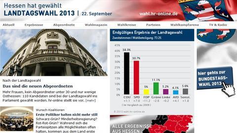 Screenshot des Landtagswahl-Specials aus dem Jahr 2013