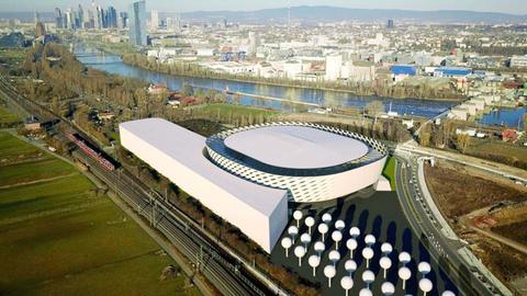 Bild eines Modells einer neuen Multifunktionshalle, die für Offenbach in Planung ist.