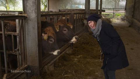 Stadtkind trifft Landei: Sarah Plass hilft beim Ausmisten im Kuhstall