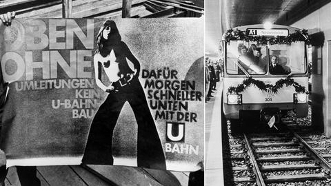 Bildcollage aus historischen Bildern zur U-Bahn-Einweihung: zu sehen ist ein Plakat mit einer barbüsigen Frau, die für Geduld beim Bau der U-Bahn werben sollte und ein Bild der ersten geschmückten fahrenden U-Bahn