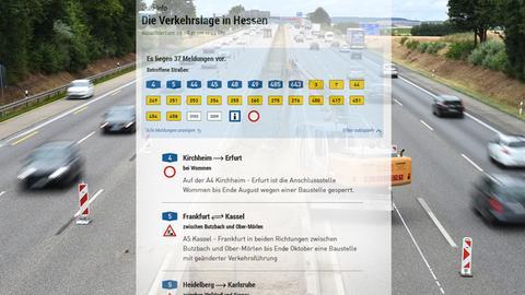 Symbolbild: Screenshot der Verkehrsmeldungs-Seite auf hesseenschau.de, im Hintergrund eine Autobahn