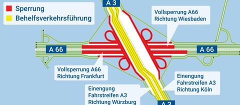 Die Grafik zeigt die Sperrung am Wiesbadener Kreuz