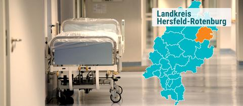 Leeres Bett in Plastikfolie im Krankenhausgang