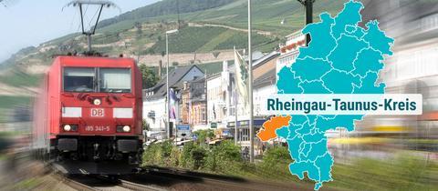 Ein Güterzug fährt durch Rüdesheim