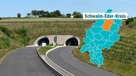 Autobahntunnel mit begrüntem Übergang