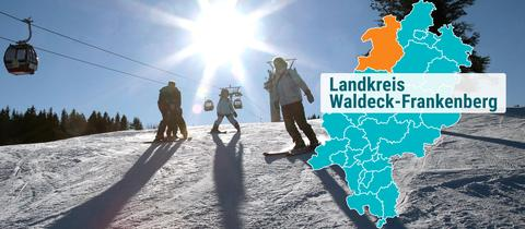 Menschen beim Skisport mit Lift bei strahlendem Sonnenschein