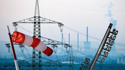 Kohlekraftwerk, Windsack, Thermometer