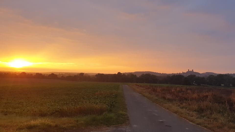 Burg Münzenberg im Sonnenaufgang vor goldenem Himmel