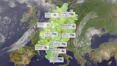 Symbolbild: Wettervorhersage-Karte Hessen, im Hintergrund ein Wetter-Satellitenbild von Europa (Collage)