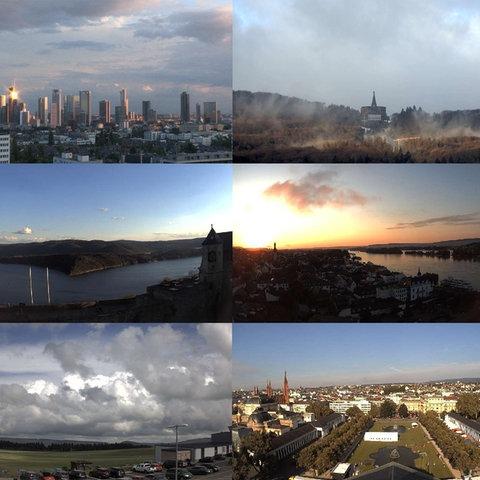 Der Himmel  über in Frankfurt, Darmstadt, Wiesbaden, Fulda, Marburg, Rüdesheim, Willingen, Waldeck am Edersee, auf der Wasserkuppe und anderen Orten in Hessen.