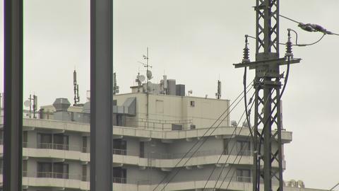 Mobilfunkantennen auf dem Dach eines Hotels nahe dem Hauptbahnhof Darmstadt