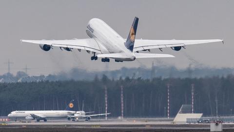 Ein A380 der Lufthansa hebt in Frankfurt ab