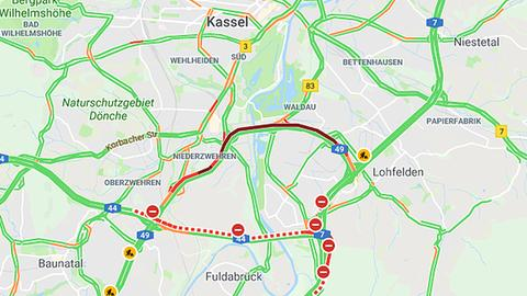 Bisherige Sperrung der A44 in Richtung Dortmund