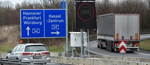 Umleitung an der A44 bei Kassel