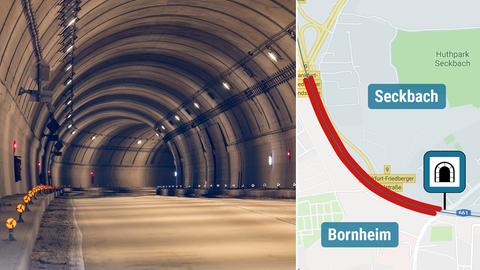 Tunnel und Karte zur Einhausung der A661