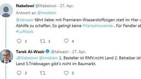 Al-Wazir twittert zu Problemen auf Rheingaulinie
