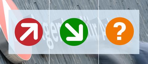 Dreiercollage aus einem herabzeigenden und einen heraufzeigendem Pfeil sowie einem Fragezeichen