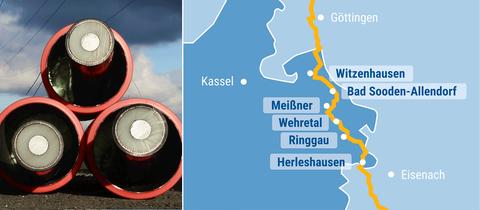 Die Bildkombination zeigt ein Foto von Erdkabeln und eine Karte mit dem möglichen Trassenverlauf