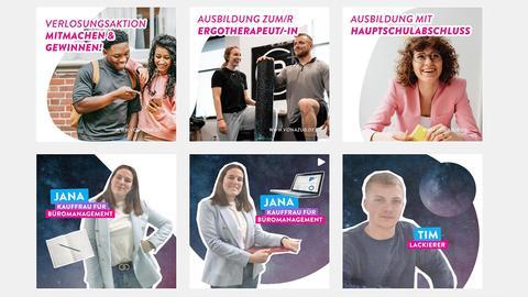 """Screenshot Instagram-Account von """"VonAzuB - Ausbildung in Hessen"""" - viele Informationsangebote zum Thema Ausbildung werden mit farbigen Bildern und Protagonisten beworben."""