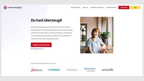 Screenshot der Internetseite des Ausbildungsradars.
