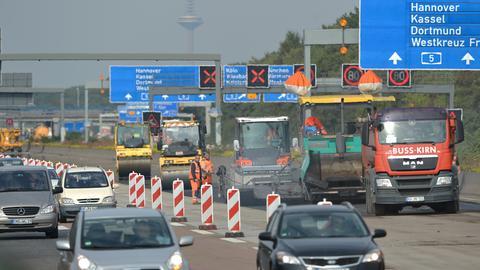 Bauarbeiten auf der A5 zwischen Frankfurt und Darmstadt