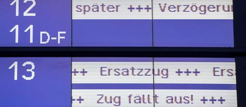 Anzeigetafel der Bahn über Zugausfälle und Verspätungen