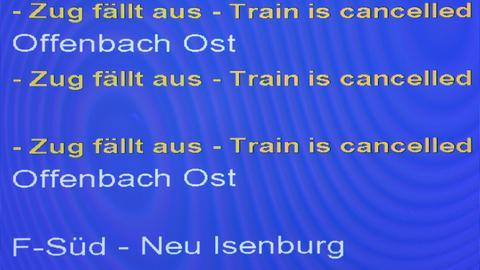 """Anzeigentafel """"Zug fällt aus"""""""