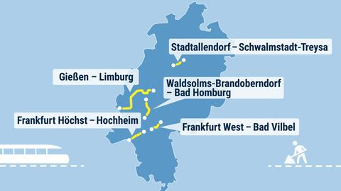 Auf einer Landkarte von Hessen sind mehrere Bahnstrecken markiert, auf denen in den Sommerferien gebaut wird.