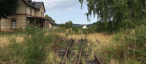 Stillgelegter Bahnhof in Rabenau-Londorf mit vom Gras überwucherten Gleisen