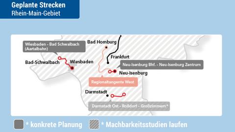 Karte der geplanten reaktivierten Bahnstrecken.