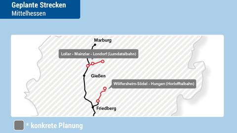 Die beiden Teilstücke der Lumdatal- und der Horlofftalbahn.