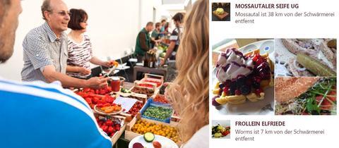 Collage aus Marktszene und Screenshot der Marktschwärmer-Seite